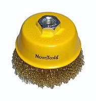 Щетка по металлу для болгарки торцевая гофрированная латунь 100 мм NovoTools