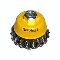 Щетка по металлу для болгарки торцевая плетеная сталь  75 мм NovoTools