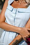 Приталенный хлопковый сарафан на пуговицах голубой, фото 5