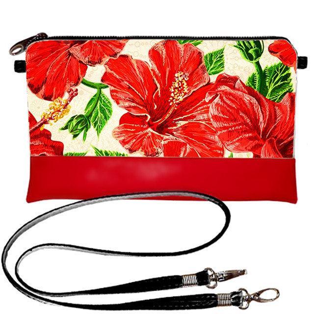 Сумка клатч с принтом Красные цветы