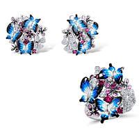Серебряный набор Бабочки из ювелирной эмали в цветах