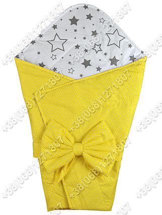 Летний конверт на выписку Звездочки желтый с белым, фото 2