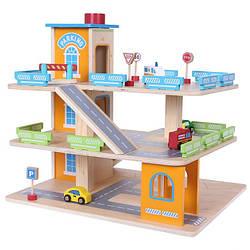 Детский деревянный гараж игровой EcoToys 1085 + аксессуары (8097)