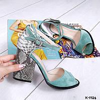 Бирюзовые замшевые босоножки на каблуке ПИТОН с открытым пальчиком на ремешке
