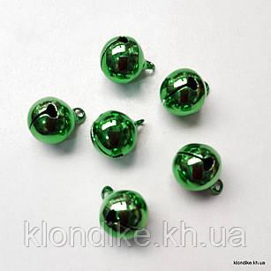 Бубенчики, Металлические, 12×12 мм, Цвет: Зеленый (10 шт.)