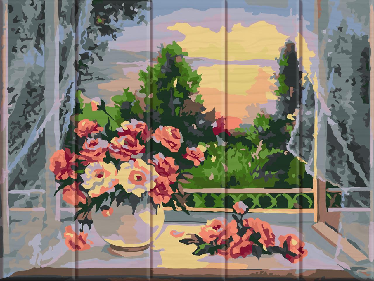 Картина по номерам на дереве Цветы на подоконнике ArtStory ASW069 30 х 40 см