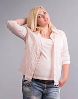 Рубашка с трикотажной майкой (двойка), светло-розовая, большие размеры (56-58), фото 1
