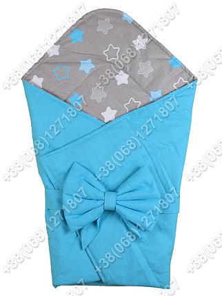 Летний конверт на выписку Звездочки голубой с серым, фото 2