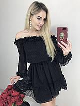 Шифоновое нарядное платье с открытыми плечами /разные цвета, 42-44, ft-445/, фото 2