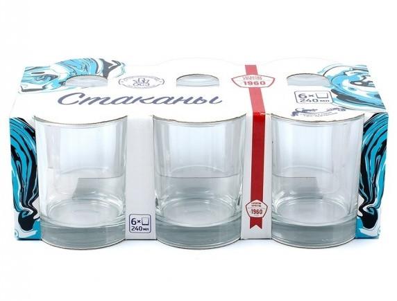 Набор низких гладких стаканов 240 мл