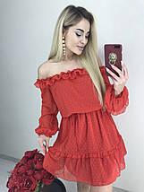Шифоновое нарядное платье с открытыми плечами /разные цвета, 42-44, ft-445/, фото 3