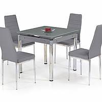 Стол обеденный стеклянный раскладной Halmar Kent сталь хромированная серый 80-130x80x76 см