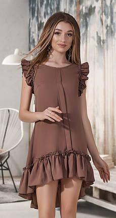 Асимметричное платье с оборками, фото 2