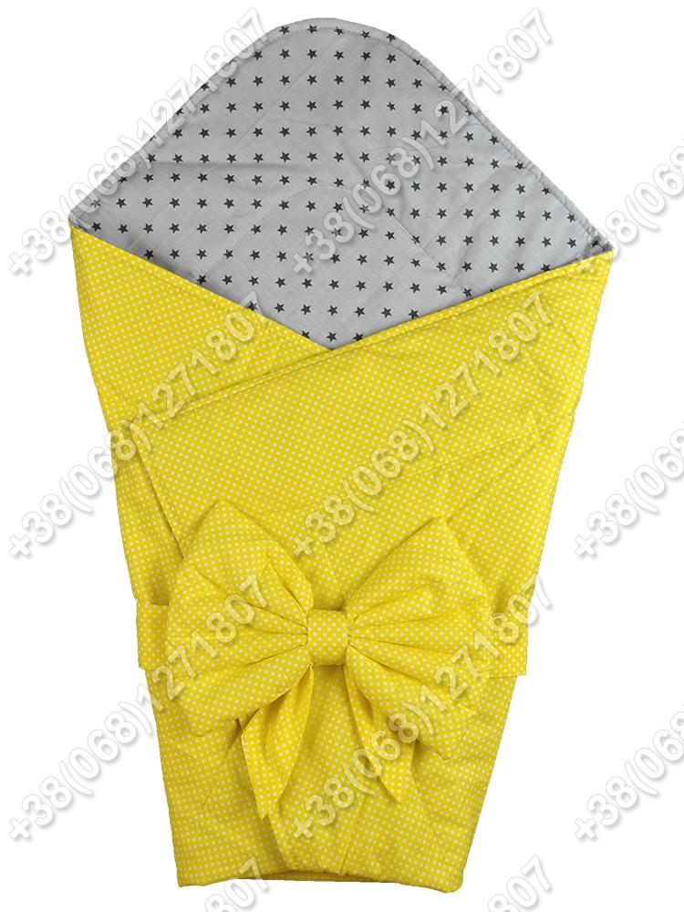 Летний конверт на выписку Звездочки желтый с серым