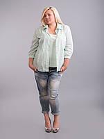 Рубашка с трикотажной майкой (двойка), светло-ментоловая, большие размеры (56-60), фото 1