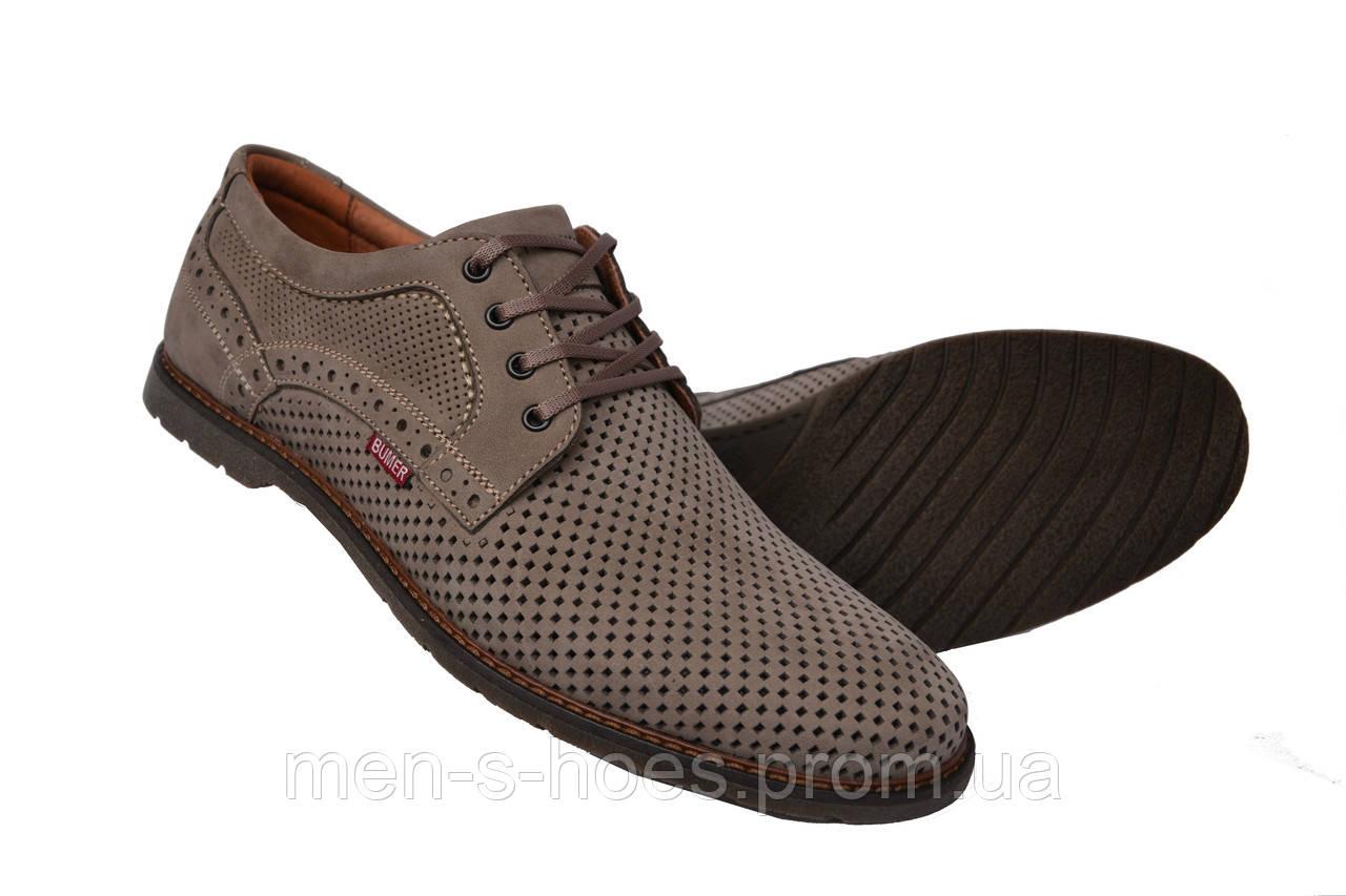 Мужские  туфли летние  кожаные олива