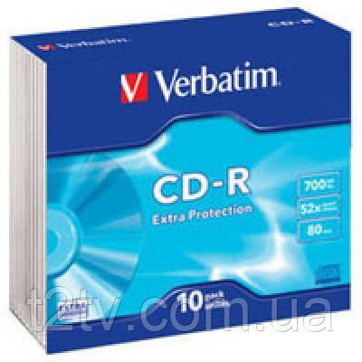 Диск CD Verbatim 700Mb 52x Slim case 10шт Extra (43415)