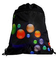 """Рюкзак Vombato 7850 """"Шарики"""" сумка для сменной обуви черная на шнурках с карманом"""