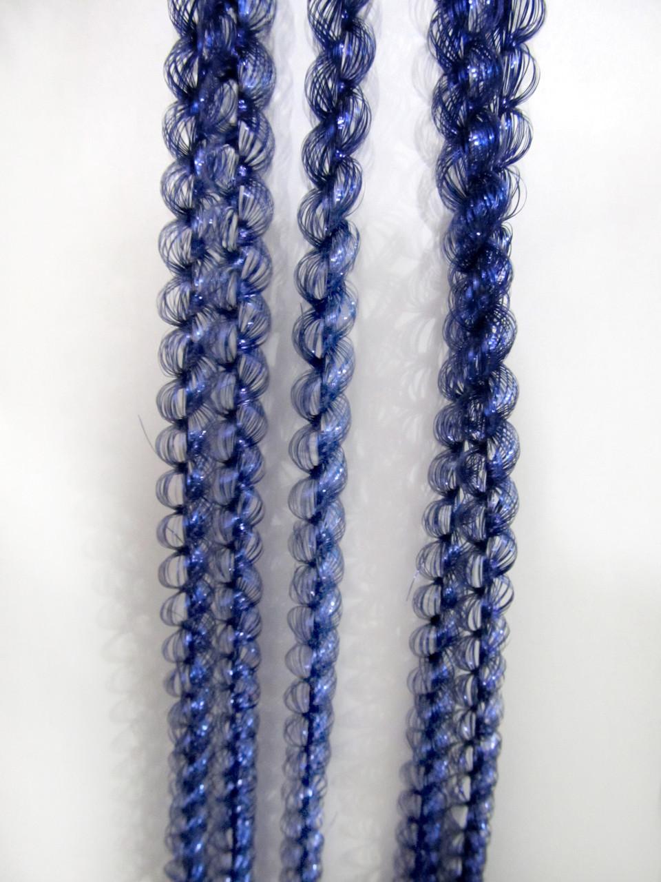 1 см диаметр Колосок дождик Синий, Длина 150 см