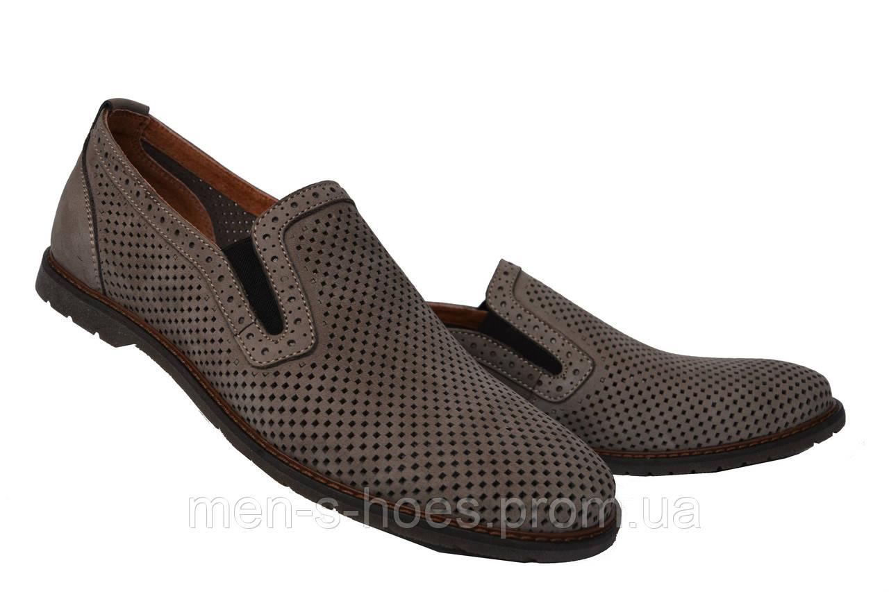 Мужские  туфли летние на резинке кожаные олива