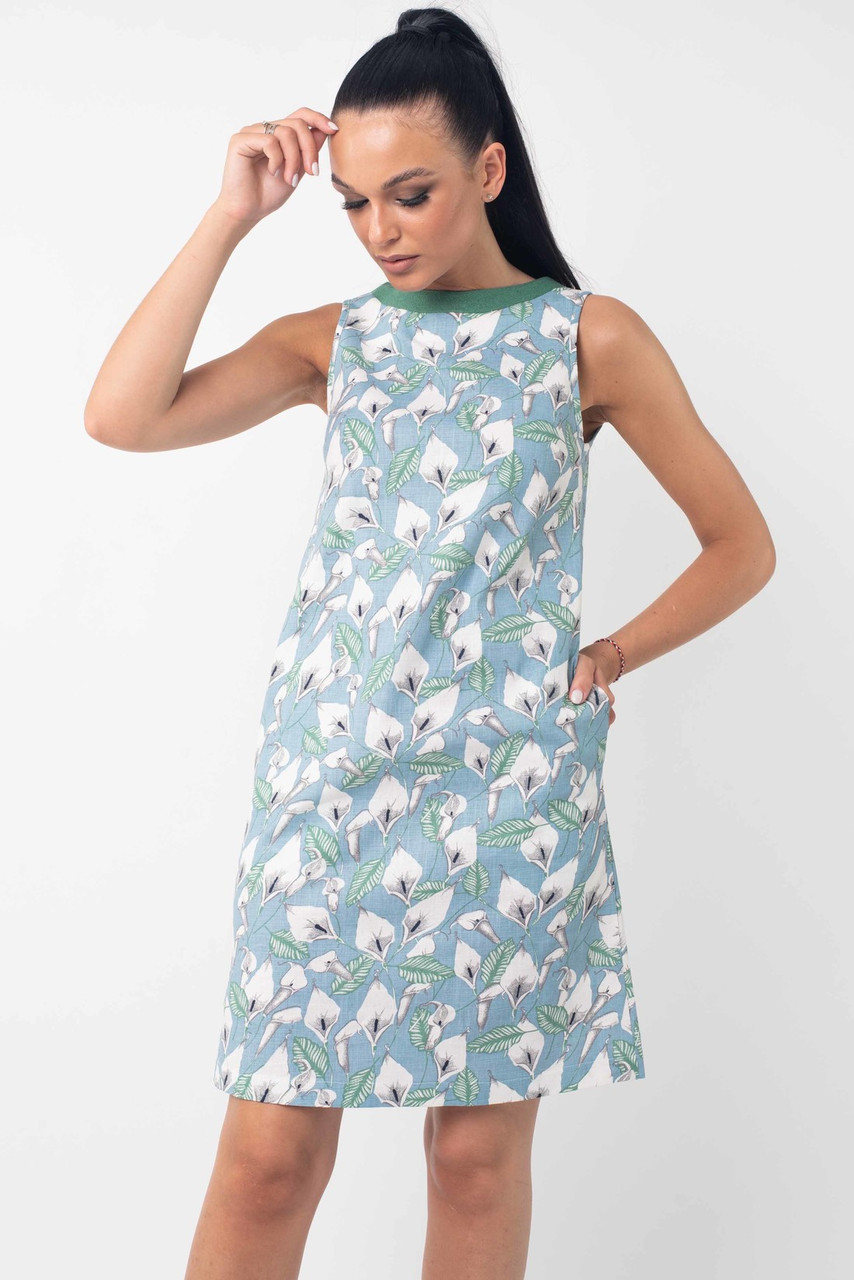 Льняное платье А силуэтное женское летнее лен с принтом, голубое