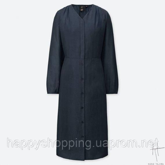 Женское стильное темно-серое льняное миди платье с рукавами Uniqlo