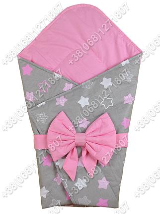 Летний конверт на выписку Звездочки серый с розовым, фото 2