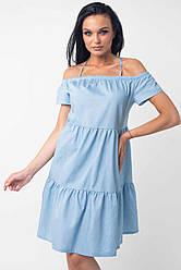 Джинсовое платье сарафан с открытыми плечами с воланом тонкое летнее