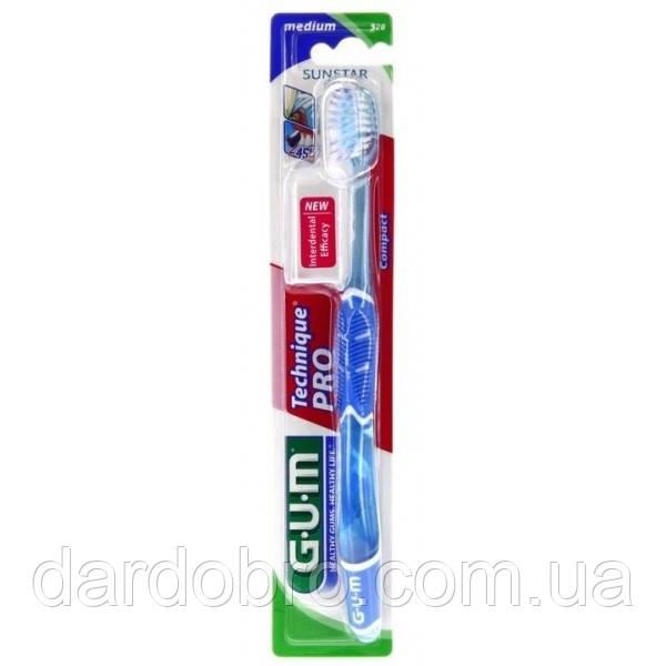 Зубная щетка GUM TECHNIQUE PRO COMPACT MEDIUM, компактная средне-мягкая