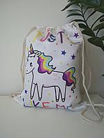 Белая сумка для сменной обуви с лошадкой 42*33 см, фото 1