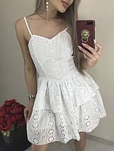 Летнее платье-сарафан на тонких бретельках из батиста /желтый, белый, 42-46, ft-1036/, фото 2