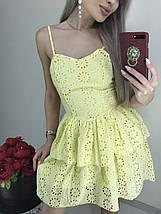 Летнее платье-сарафан на тонких бретельках из батиста /желтый, белый, 42-46, ft-1036/, фото 3