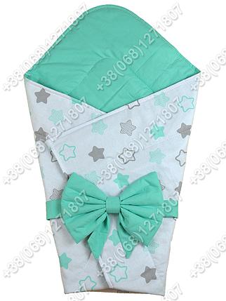 Летний конверт на выписку Звездочки белый с салатовым, фото 2
