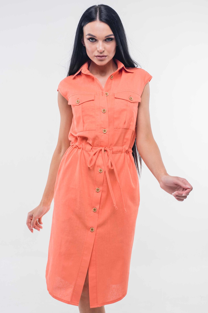 Льняное платье рубашка женское летнее лен однотонный, персиковое