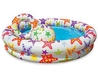 Бассейн надувной с надувным кругом и мячом Intex 59460