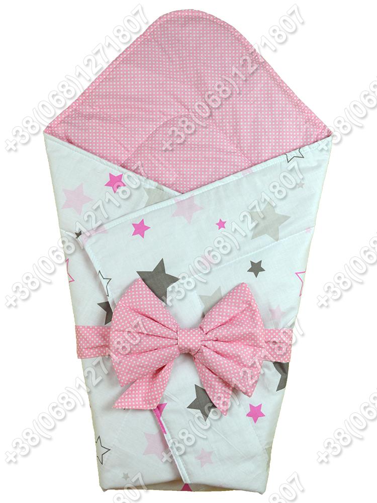 Летний конверт на выписку Звездочки белый с розовым