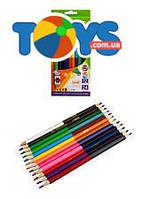 Карандаши цветные Double KIDS LINE, 12 штук, 24 цвета, ZB.2463