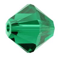 Бусины из натурального камня Сваровски биконус 5328 Emerald