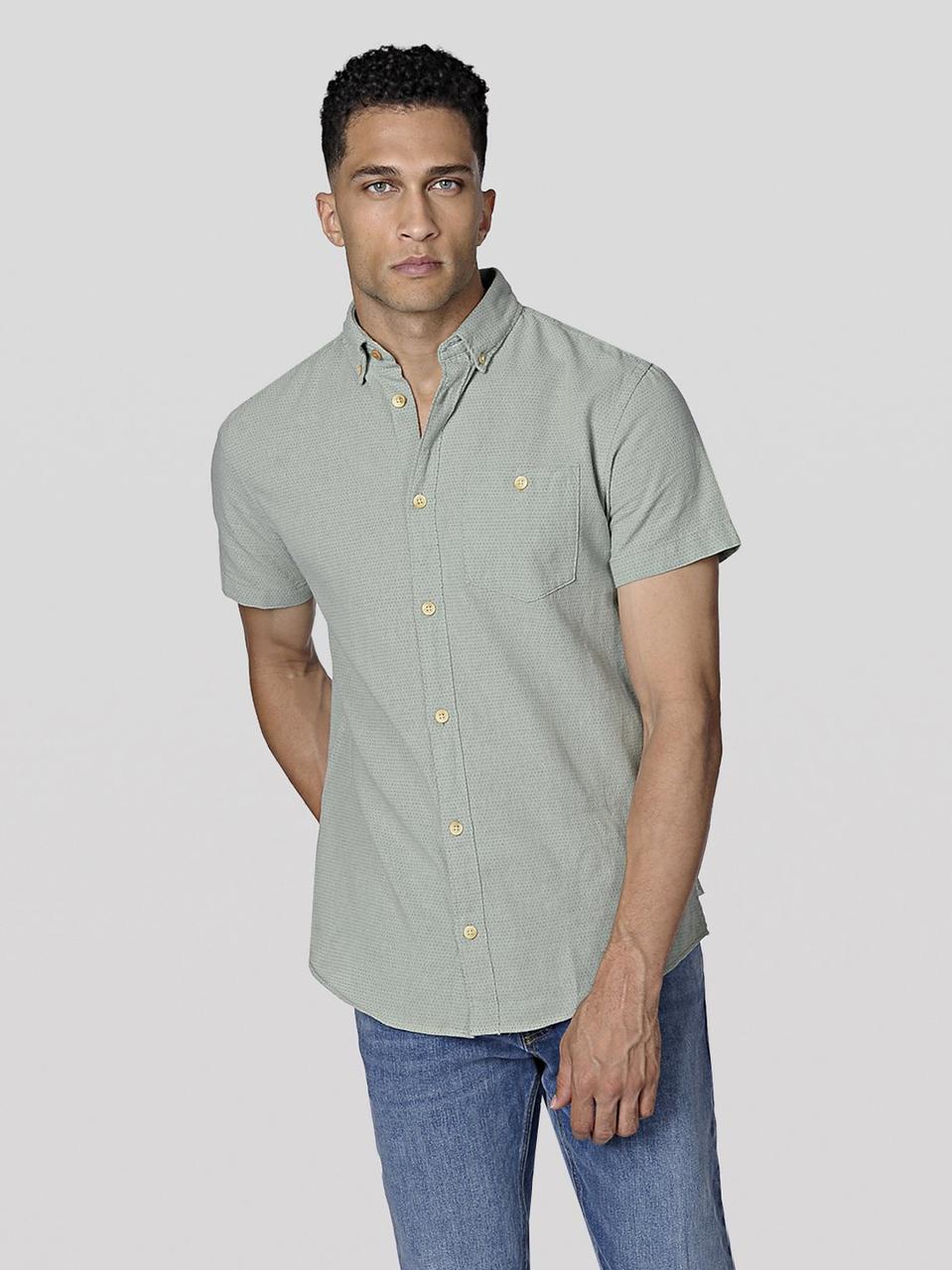 Мужская рубашка бирюзовая Jorportland Shirt One Pocket Plus Size от Jack & Jones в размере 5XL
