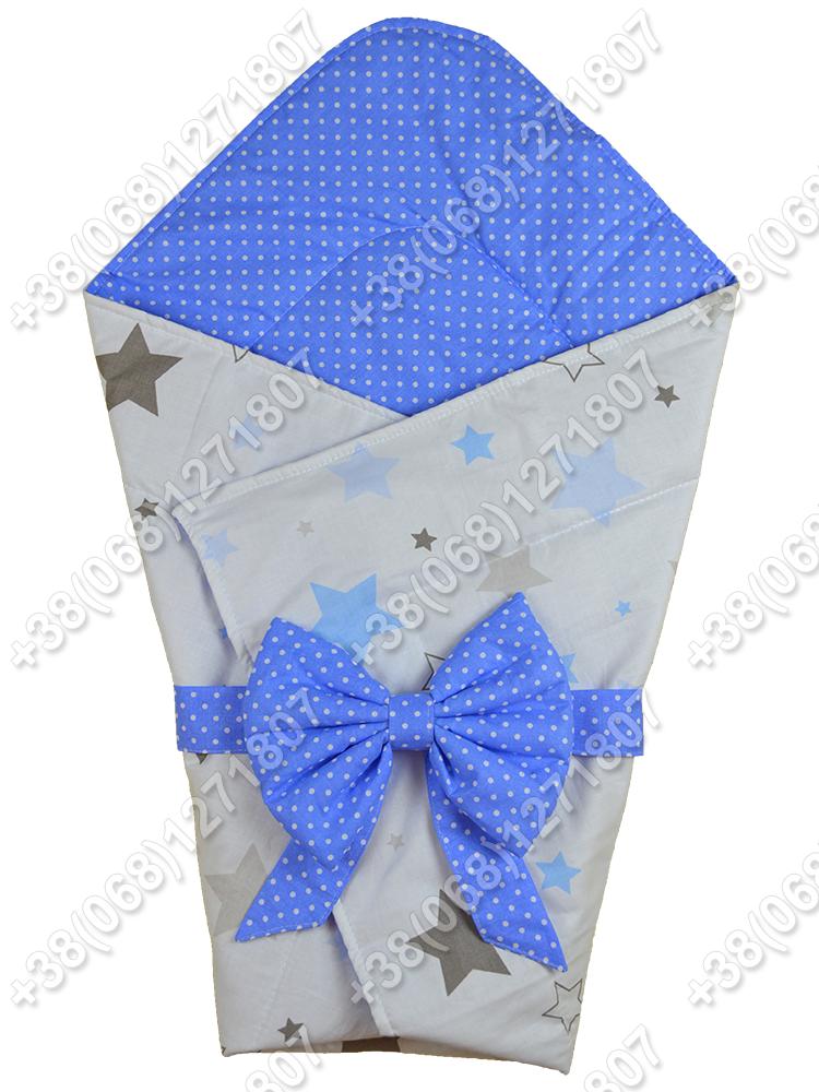 Летний конверт на выписку Звездочки белый с синим