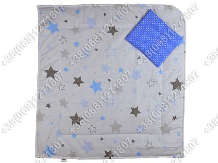 Летний конверт на выписку Звездочки белый с синим, фото 2