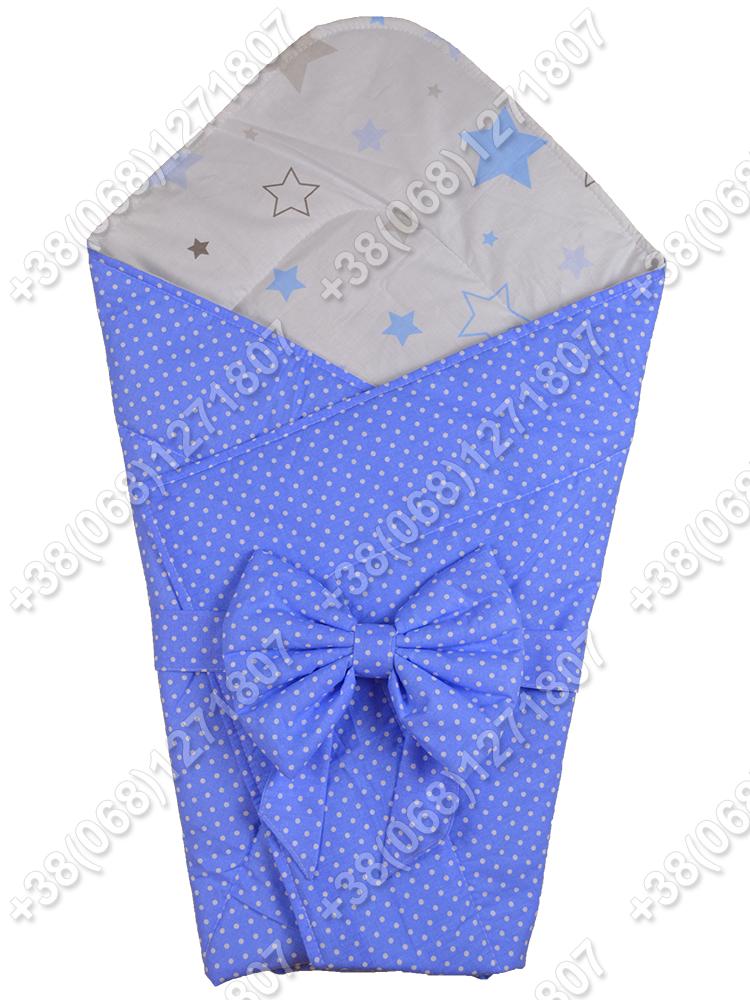 Летний конверт на выписку Звездочки синий с белым