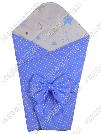 Летний конверт на выписку Звездочки синий с белым, фото 2