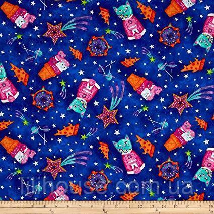 """Американський Бавовна Тканина для Печворку та Рукоділля """"Коти і Печиво"""" 52*55 см"""