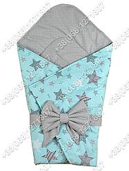 Летний конверт на выписку Звездочки мятный с серым