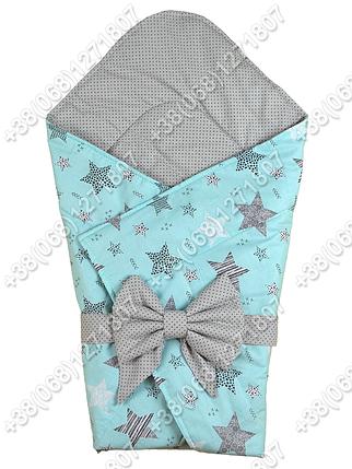 Летний конверт на выписку Звездочки мятный с серым, фото 2