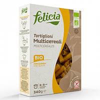 Паста Felicia мультизлакова TORTIGLIONI (75% кукурудза*, 10% рис*, 10% гречка*, 5% кіноа*. *Organic