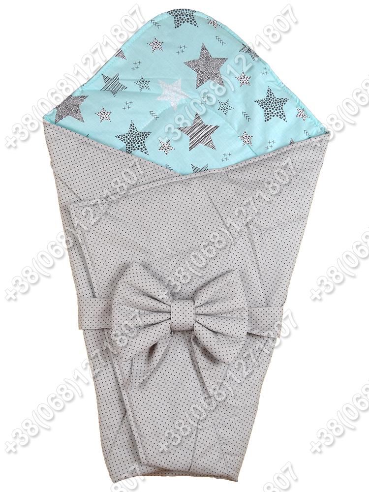 Летний конверт на выписку Звездочки серый с мятным