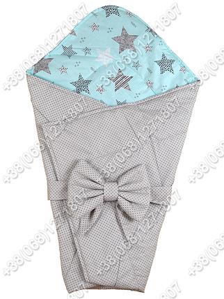 Летний конверт на выписку Звездочки серый с мятным, фото 2
