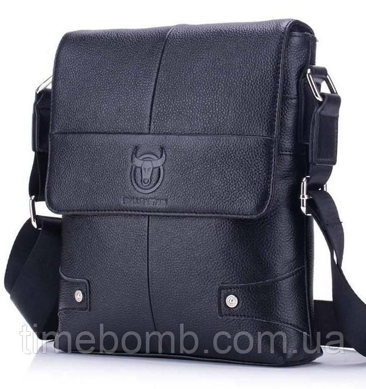 Мужская кожаная сумка на плечо BullCaptain черная 075